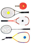 What's your racket. Table tennis, Tennis, squash, badminton and racquetball racquets isolated on white background Royalty Free Stock Images