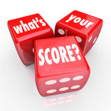 What's Your Score Three 3 Red Dice Credit Rating Level Grade Royalty Free Stock Photo