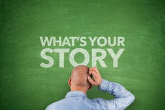 What´s your story on blackboard. With businessman Stock Photo