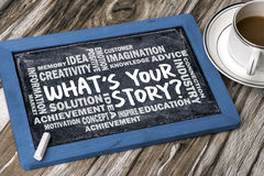 What's your story hand drawing on blackboard Royalty Free Stock Photography