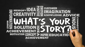 What's your story hand drawing on blackboard Stock Photos