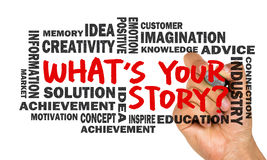 What's your story hand drawing on whiteboard royalty free stock image