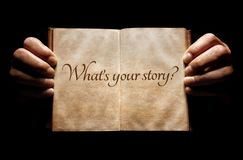 Free What`s Your Story Hands Holding An Open Book Background Royalty Free Stock Photos - 136270118