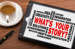 What's your story on tablet pc with related words Royalty Free Stock Photos