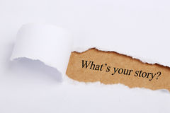 What's your story?. Text 'What's your story?' appears under the torn paper
