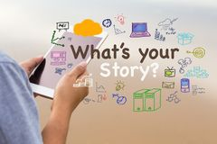 What`s Your Story. Text with drawing icon on the background of woman reading tablet Stock Images
