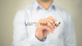 What's Your Style ?  , man writing on transparent screen Stock Photo