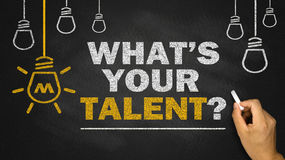 What's your talent. On blackboard background stock image