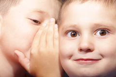 What a secret. Two boys faces at sharing secrets moment closeup Royalty Free Stock Image