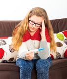 What should I Do Now?. Teenage girl facing serious problem, being pregnant royalty free stock image