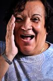 What a surprise. This picture represents a woman with a surprised expression Royalty Free Stock Images