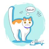What Is It Surprised Kitten Vector Illustration. Of white cat with orange spots and eyes, nice blue collar, fish bones, blue shadow and background Stock Photos