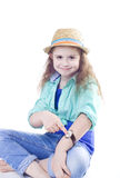 watch on a  hand of a little girl Royalty Free Stock Images