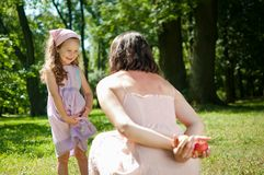What to choose - mother with child Royalty Free Stock Photo