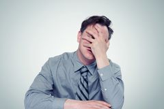 What to do? Fear businessman, facepalm concept crisis.  Stock Photos