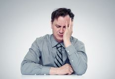 What to do? Fear businessman, facepalm concept crisis Stock Images