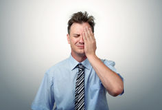 What to do? Fear businessman, facepalm concept crisis Stock Image