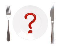 What to eat?. Question sign on a white plate Royalty Free Stock Photography