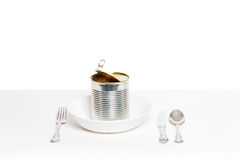 What to eat today. Canned food served on white plate Stock Photography