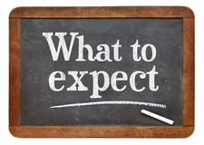 What to expect blackboard sign Royalty Free Stock Images