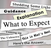 What to Expect Newspaper Headlines Guidance Explanation. What to Expect words on newspaper headlines to shed light in the confusion and offer guidance or Royalty Free Stock Photo