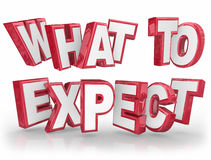 What to Expect Red 3d Words Guidance Explanation. What to Expect 3d words to explain something that is unknown or uncertain and provide guidance, information or vector illustration