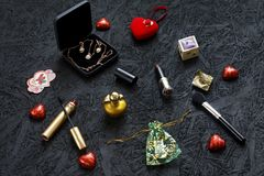 What to give a woman. Necessary things for women. Flat Lay. stock image