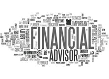 What To Look For In A Financial Advisor Word Cloud. WHAT TO LOOK FOR IN A FINANCIAL ADVISOR TEXT WORD CLOUD CONCEPT Stock Photo