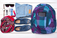 What to Pack in Your Carry On Bag Stock Photo