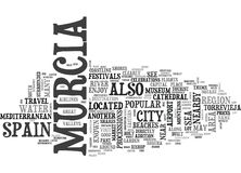 What To See In Murcia Spain Word Cloud. WHAT TO SEE IN MURCIA SPAIN TEXT WORD CLOUD CONCEPT Stock Photography