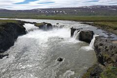 This is the waterfall Godafoss in North Iceland.