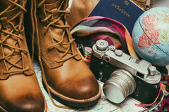 What to take for a trip. Background - what to take for a trip. passport phone documents map camera globe handbag boots accessories Stock Images