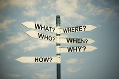 Free What, Where, Who, Why, When, How-written With Direction Board. Stock Photography - 104603532