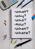 What Why Who How word on notebook. Page royalty free stock image