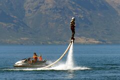 What will they think of next....Flyboard. Royalty Free Stock Photography
