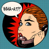 What a woman speaks on the phone. Pop art retro style. Question. Unexpected news, gossips. Communication and technology Royalty Free Stock Images