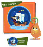 What is wrong. ship. Visual Game for children. Task: what is wrong Royalty Free Stock Image