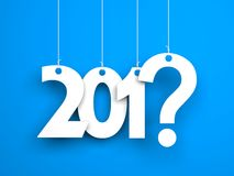 What year next? New year metaphors. White words on blue background Stock Photo