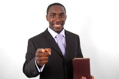 What About You?. This is an image of man holding a bible/good book. Metaphor for motivational speaker. (Please let me know where the image will be used by royalty free stock photo