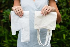 Plastic and reusable bags stock photography