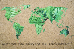 What are you doing for the environment? world with sand instead Stock Photos