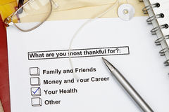 What are you most thankful for? Stock Image