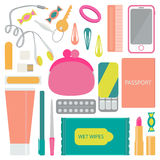What you will find in woman bag. Royalty Free Stock Photos