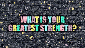 What is Your Greatest Strength Concept. Multicolor on Dark Bric Stock Photo