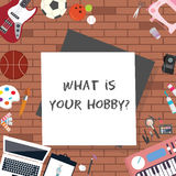 What is your hobby illustration interest sport art technology items object icon question Royalty Free Stock Photo