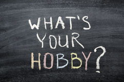 What your hobby. What's your hobby question handwritten on the school blackboard Stock Images