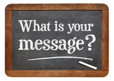 What is your message? Blackboard sign. Stock Image
