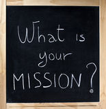 What is your mission blackboard question stock photography