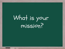 What is your mission blackboard. Stock Photos
