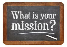 What is your mission question on blackboard Stock Photography